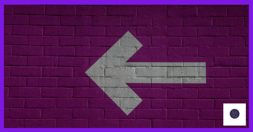 Are we pivoting? White arrow on purple background.