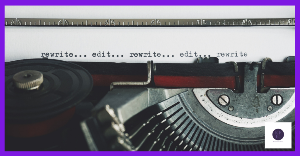 Typewriter emphasising the importance of editing and rewriting.